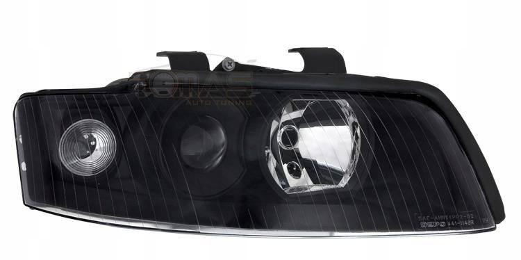Lampy Samochodowe Przednie Audi A4 B6 Black Soczewki