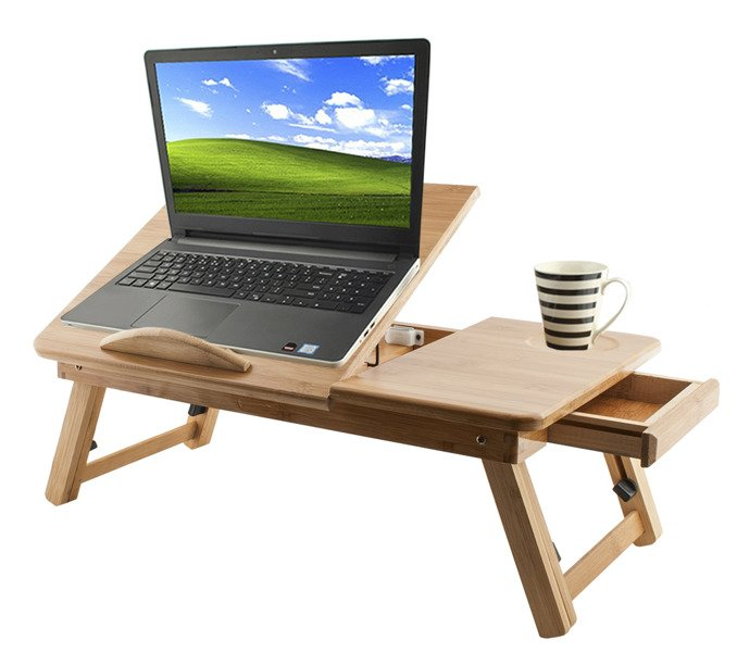 Stolik Drewniany Pod Laptop Regulacja Bambus Wentylowany