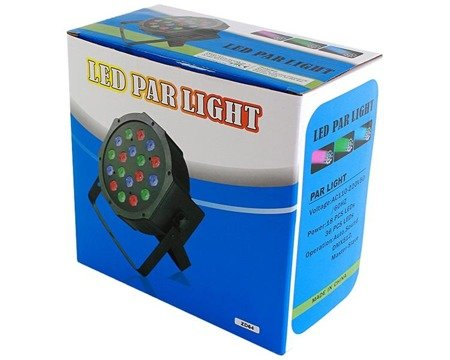 Reflektor led rgb disco 18 x3w led reflektor slim par